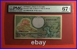 1959-indonesia 25 Rupiah 3 Consecutive Notes, Graded By Pmg Superb Gem Unc 67 Epq