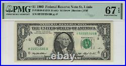 1993 $1 Federal Reserve Note St. Louis Near Solid Serial 5 Pmg Superb Gem 67 Epq