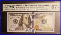 2017a $100 Richmond Repeater Serial Number 00420042 Pmg 67epq Superb Gem New Unc