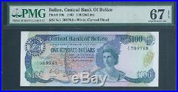 BELIZE $100 P50a 1983 QEII PMG 67 EPQ Superb Gem Uncirculated
