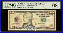 SUPERB GEM $10 DOLLAR LUCKY 7-7s NEAR SOLID SERIAL NUMBER NOTE MONEY PMG 68 EPQ
